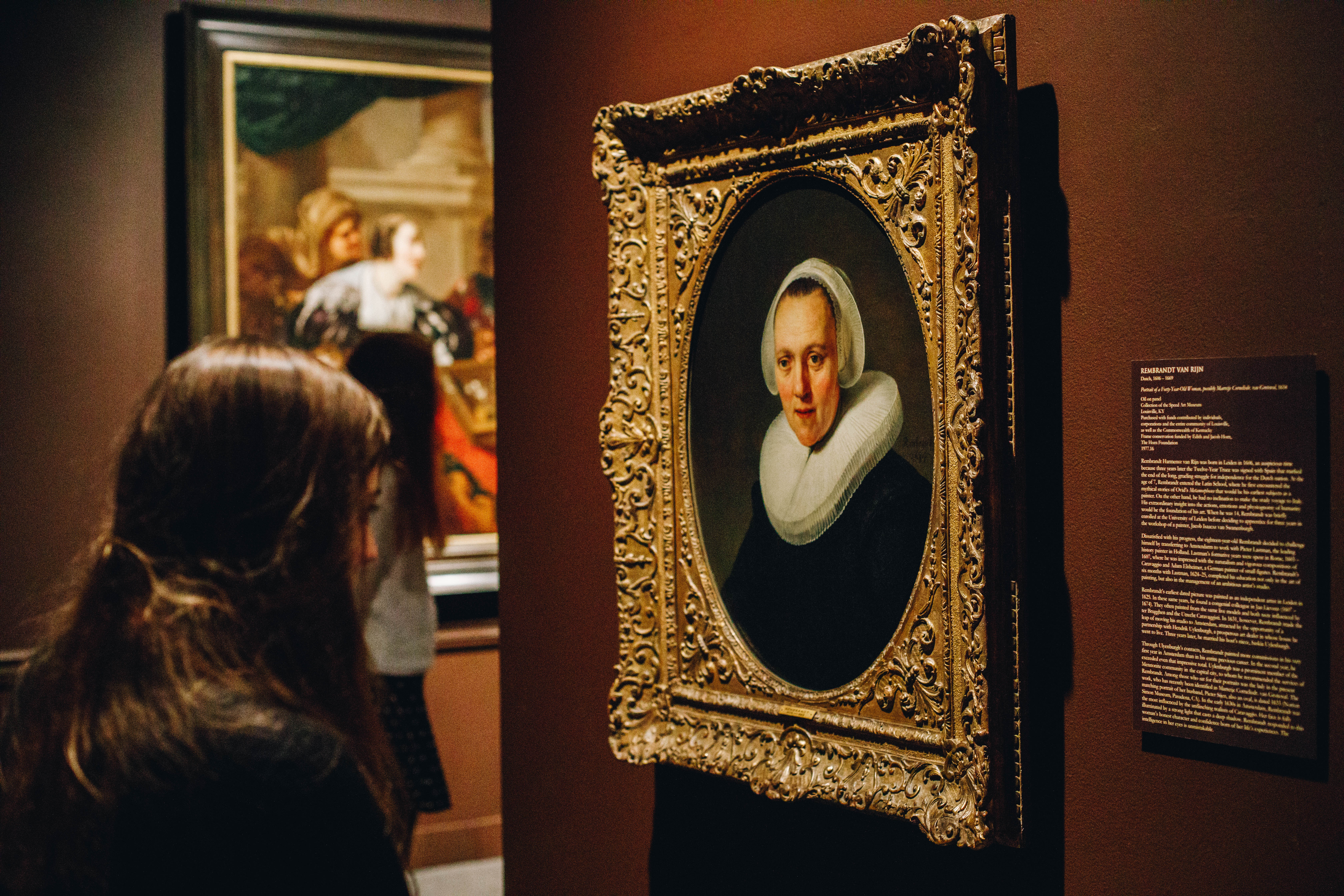 "Visitor to our 2018 exhibition ""In the Light of Caravaggio: Dutch and Flemish Paintings from Southeastern Museums."" Photo by Andrew Uhrig W&M '20."