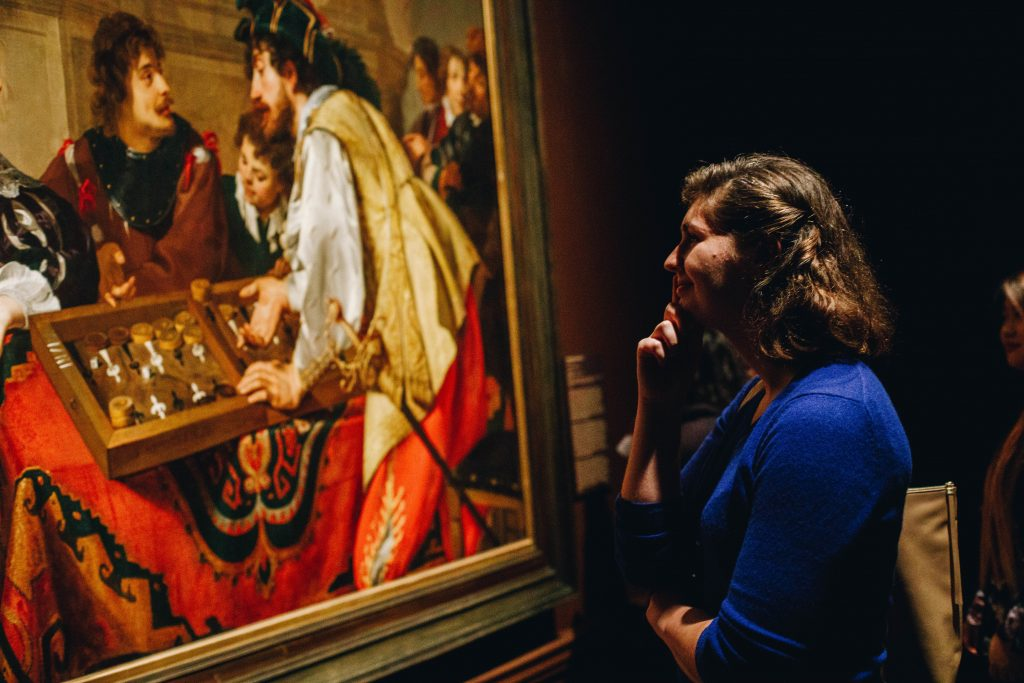 """Visitor to our 2018 exhibition """"In the Light of Caravaggio: Dutch and Flemish Paintings from Southeastern Museums."""""""
