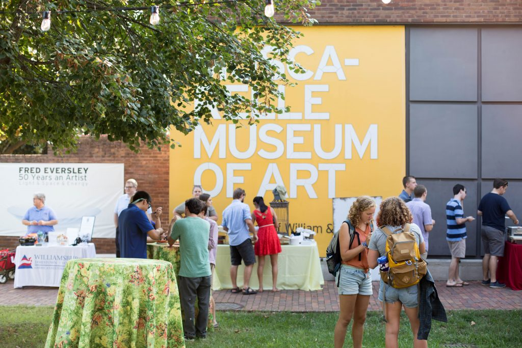 """Students attend an opening for our 2017 -2018 exhibitions """"Building on the Legacy"""" and """"Fred Eversley, 50 Years an Artist: Light & Space & Energy."""" Photo by Andrew Uhrig W&M '20"""