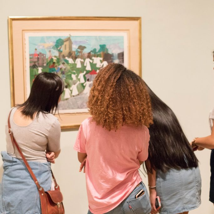 "Visitors to our 2017-2018 exhibition ""Building on the Legacy."" Photo by Andrew Uhrig W&M '20."