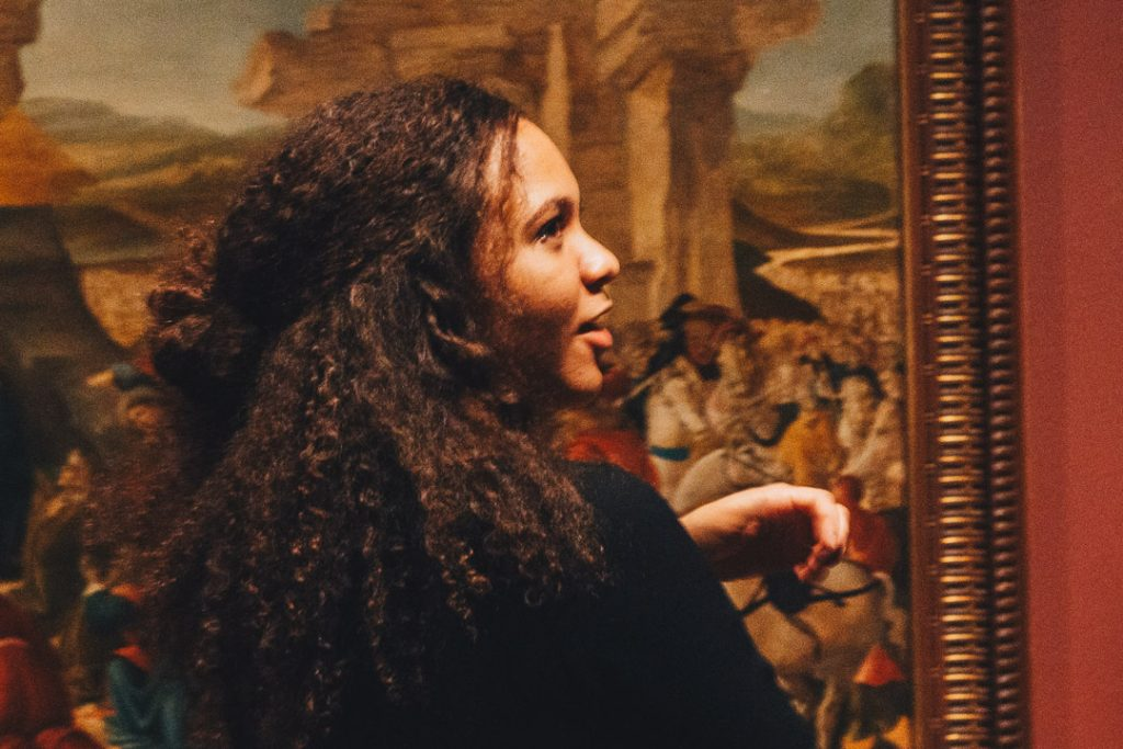 """Visitor to our 2017 exhibition """"Botticelli and the Search for the Divine: Florentine Painting between the Medici and the Bonfires of the Vanities."""" Photo by Lex Rowland."""
