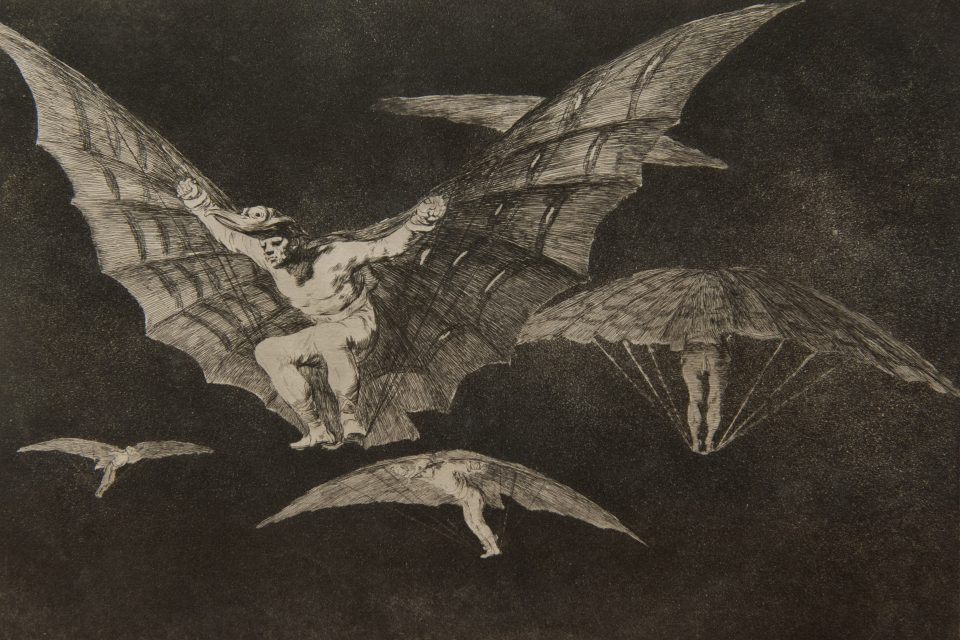 FRANCISCO JOSÉ DE GOYA Y LUCIENTES | Spanish, 1746 - 1828 | Donde Hay Ganas Hay Mana, Modo de Volar (Where There's a Will, There's a Way, A Way of Flying) from the series, circa 1824 | Etching and aquatint, state II/III | Acquired with funds from the Board of Visitors Muscarelle Museum of Art Endowment | 2012.153