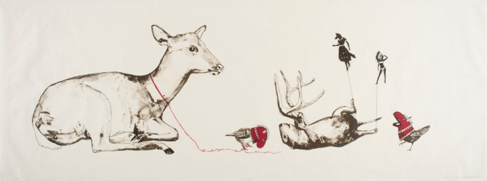 JULIE BUFFALOHEAD | Ponca, born 1972 | Unravel, 2014 | Lithograph on Kozo Shi wove paper, ed. 7/8 | © Julie Buffalohead | Acquired with funds from the Board of Visitors Muscarelle Museum of Art Endowment | 2017.002