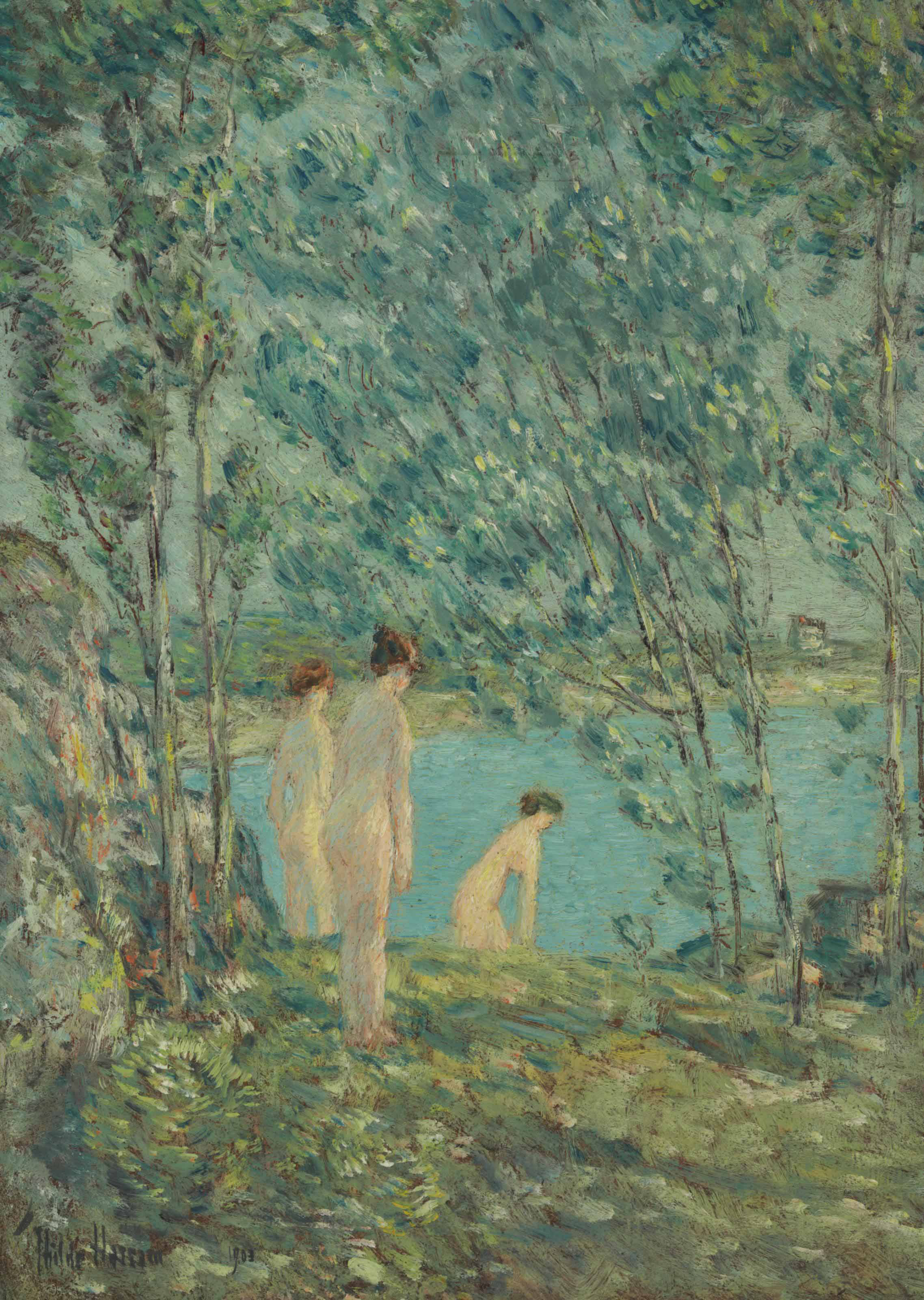 CHILDE HASSAM | American, 1859 – 1935 | The Bathers, 1903 | Oil on board | Public Domain | On Loan from The Owens Foundation | TL20.1