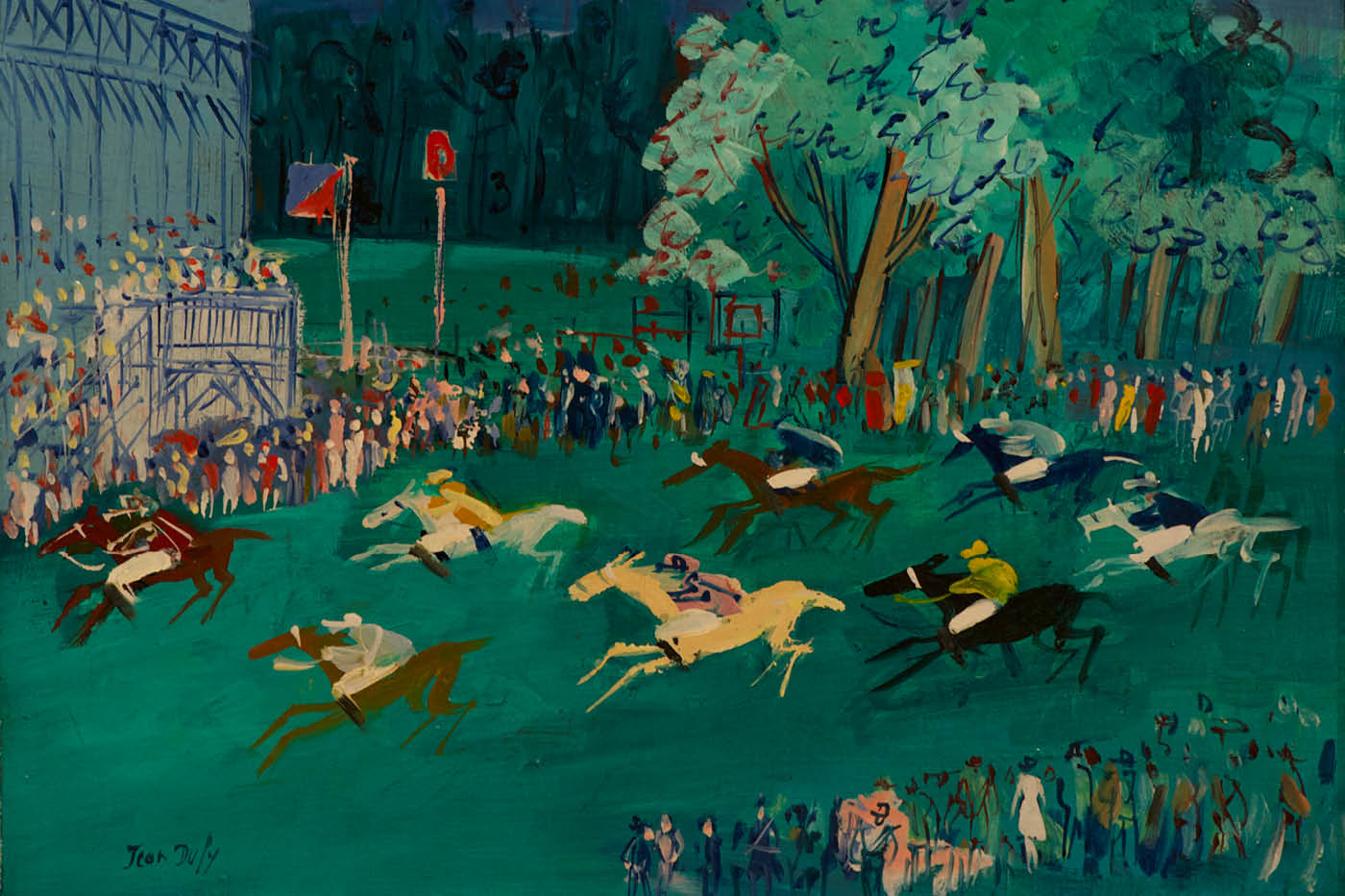 JEAN DUFY | French, 1888 - 1964 | At the Races (detail), 1957 - 1958 | Oil on canvas | Gift of Mrs. Rose A. Guy in honor of William & Mary President Thomas A. Graves, Jr. | 1984.027