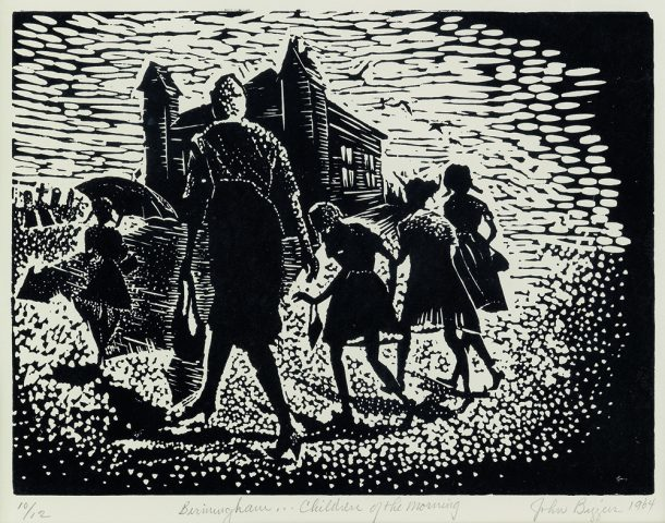 JOHN BIGGERS | American, 1924 – 2001 | Birmingham… Children of the Morning, 1964 | Linoleum cut, ed. 10/12 | © John T. Biggers Estate / Licensed by VAGA at Artists Rights Society (ARS), NY, Estate Represented by Michael Rosenfeld Gallery | Acquired with funds from the Board of Visitors | Muscarelle Museum of Art Endowment | 2019.004