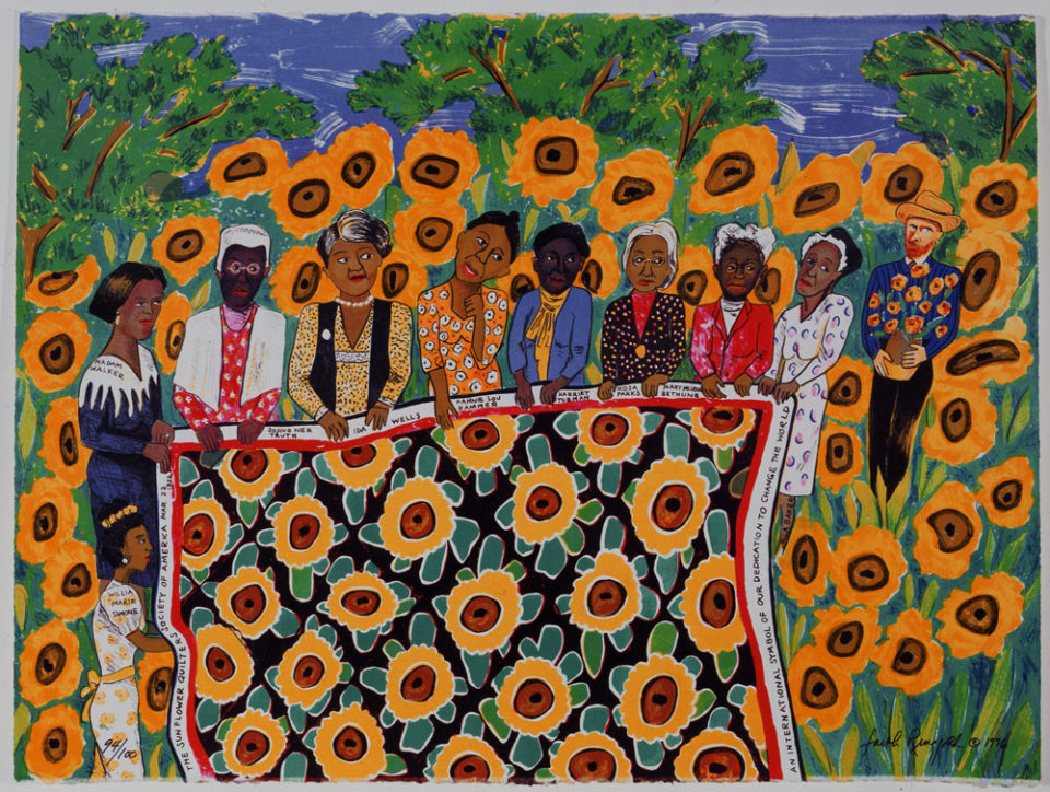 FAITH RINGGOLD | American, born 1930 | The Sunflower Quilting Bee at Arles, 1996 | Color lithograph, 94/100 | Faith Ringgold © 1996 | Museum Purchase | 2000.023